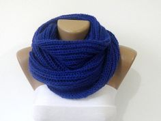 knitted women scarf cobalt blue scarves / knit fashion by seno, $30.00