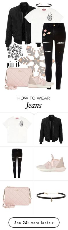 """""""Black Pinned Jeans"""" by athaliaaal on Polyvore featuring LE3NO, River Island, ban.do, Kate Spade, adidas and Carbon & Hyde"""