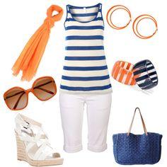 Summer in Orange & Blue, created by girlinnashville on Polyvore