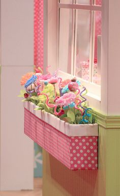 Indoor window box for girls room, too cute! I love this.
