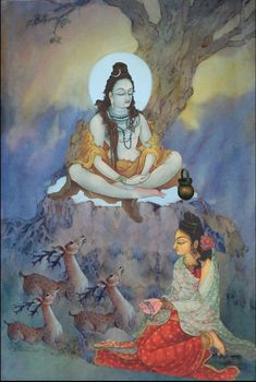Parvati worshipping Lord Shiva in creative art painting Shiva Shambo, Shiva Yoga, Shiva Parvati Images, Shiva Statue, Shiva Art, Krishna Art, Hindu Art, Radhe Krishna, Lord Ganesha Paintings