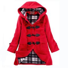 Warm Winter Button Hooded Coat | Buy New Arrivals  #Winter #Fashion #Style #Red #Coats #WinterStyle