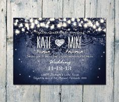Digital - Printable Files - Navy - Romantic Garden and Night Light Wedding Invitation and Reply Card Set - Wedding Stationery - ID210N
