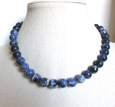 Chunky Sodalite Necklace Gemstone Statement by MSJewelryCollection