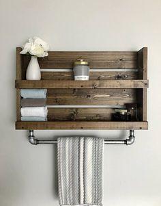 Bathroom shelf with Galvanized pipe towel bar wall hanging