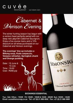 Mission: Create a campaign that communicates calendar events online : Cabernet and Venison Evenings