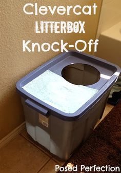 Awesome litter box solution to a common problem for households with cats and dogs. Clevercat Litter Box Knock-Off by Posed Perfection  #cat #litterboxsolution #diy