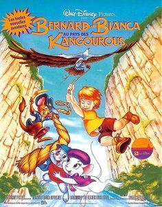 Affiche du dessin animé Bernard et Bianca au Pays des Kangourous sortie en 1990