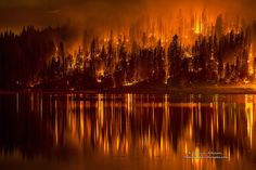 "red-lipstick: "" Darvin Atkeson/AP - The Falls area of Bass Lake, California as burning ash fills the air. The drought ridden forest is being consumed by fire, 2014 Photography "" Bass Lake California, Northern California, Weed California, Paradise California, Central California, California King, Wildland Fire, California Wildfires, Wild Fire"