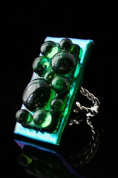 fused glass ring, sterling silver, emerald green, bubble series