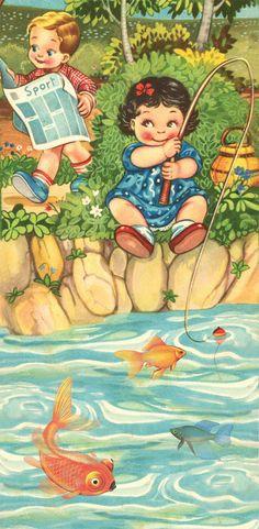 Kers op de kaart ansichtkaart lang - meisje aan het vissen, jongetje leest krant