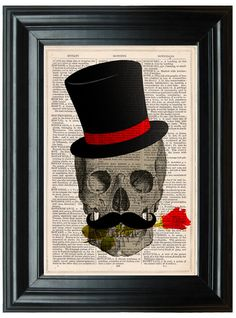 Steampunk Top Hat, #Skull #Artwork, Book Page Art, Rose #Skull Art #Print, Horror ,  View more on the LINK: 	http://www.zeppy.io/product/gb/3/181928664/