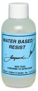 Colorless, 8 oz Jacquard's silkscreenable, colorless resist holds a crisp line without spreading, and will not shrink or pucker when dry. It can be colored with any water-based dye. It washes out easily with warm water, even after steaming. It's odorless, alcohol-free, and non-toxic.  The permanent metallic resist colors also have no fumes. They are completely permanent whether washed or dry-cleaned, and can be applied with a squeeze bottle.