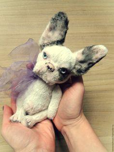 Купить Бульдожки. Собачка-тедди. Французский бульдог - серебряный, мишки тедди, коллекционные игрушки