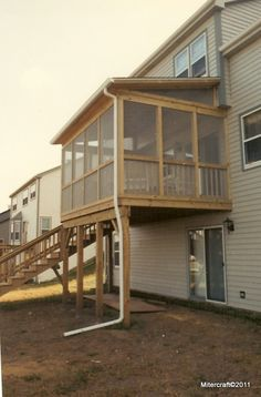 Two story decks and porches shed roof screen porch and for Shed roof screened porch plans