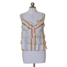 Ann Taylor LOFT White Red Aqua Yellow Striped Tiered Cotton Tank Top Size 8 #AnnTaylorLOFT #TankTop #Casual