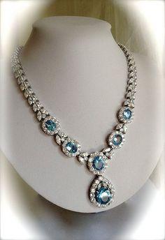 Vintage Sterling Silver Necklace Aquamarine and Diamond Estate Jewelry Aquamarine Jewelry, Diamond Jewelry, Gemstone Jewelry, Jewelry Necklaces, Jewellery Box, Pearl Necklaces, Diamond Necklaces, Jewellery 2017, Pearl Bracelets