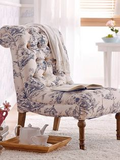 Blue and white toile slipper chair