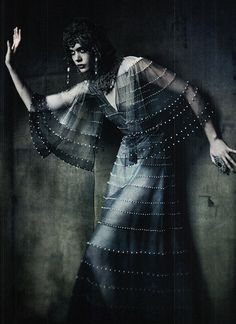 Frida Gustavsson wears Chanel Haute Couture in a shot by Paolo Roversi for Vogue Italia September 2011