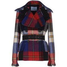 Prada Coat ($3,110) ❤ liked on Polyvore featuring outerwear, coats, jackets, coats & jackets, blue, plaid coat, prada coat, bow coat, double breasted coat and blue coat