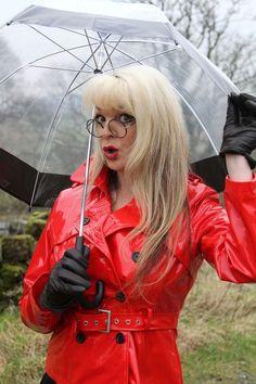 Red Raincoat, Vinyl Raincoat, Leather Gloves, Leather Jacket, Imper Pvc, Rain Bonnet, Vynil, Mode Latex, Erotic Photography