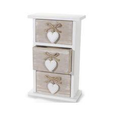 Piccola Cassettiera in Stile Shabby Chic con Ciondoli a Cuore, ciò che ti serve per conservare i tuoi oggetti più belli!