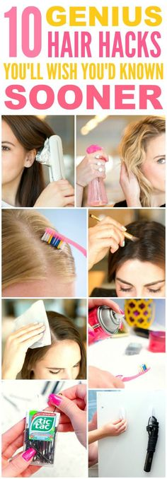 These 10 genius hair hacks every girl should know are THE BEST! I'm so happy I found these GREAT tips! Now I have some awesome ways to save time and get cute hair! Definitely pinning!