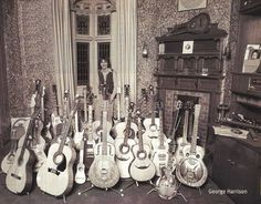 The ridiculously talented George Harrison with his guitars <3