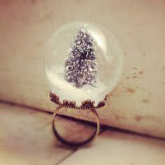 Snow Globe Ring GLASS ring Pine Tree ring Christmas Tree Ring WINTER SNOW Antique bronze  vintage style ring. $20.00, via Etsy.