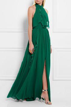 Elie Saab | Ruffled silk-georgette gown | NET-A-PORTER.COM