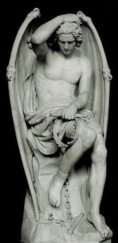 Le génie du mal - Lucifer sculpture by Guillaume Geefs. Though the original was destroyed because the church believed women would find themselves attracted to Lucifer, a copy now sits in St. Paul's Cathedral, Liege, Belgium.