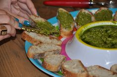 """almond pesto crostini at arielle haspel cooking class. More entertaining ideas and healthy recipes with Arielle Haspel of bewellwitharielle.com and Host of Glamour.com's cooking series """"Treat Yourself"""" @glamourmag"""