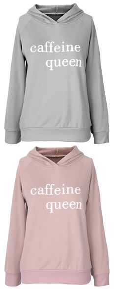 Chic Queen! Free shipping&easy return! This letter printing hoodie is what you need for this cute day morning! Save on more hot items at Cupshe.com