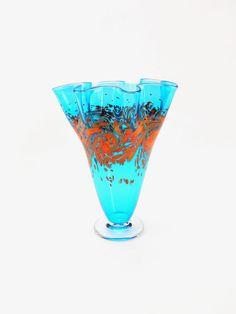 Hand Blown Art Glass Vase in Aqua Blue by ParadiseArtGlass on Etsy