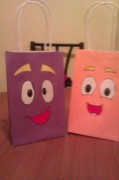 dora and diego party bags by LadyandSonsPartyBags on Etsy, $25.00