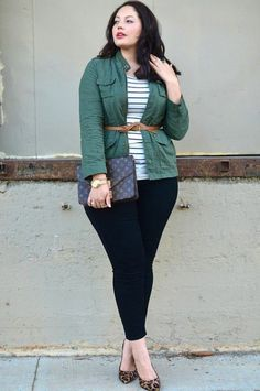 639fb162691 Fashion for chubby young ladies of dark pants green jacket belt Fashion For Chubby  Ladies