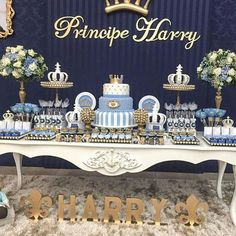 Ideas para Baby Shower: Baby Shower para Principes y Princesas Prince Birthday Party, Baby Boy 1st Birthday, Birthday Parties, Boy Baby Shower Themes, Baby Boy Shower, Shower Party, Baby Shower Parties, Shower Favors, Shower Invitations