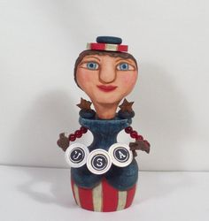 Ms USA Doll Patriotic Folk Art Doll Wood Carving by by llacarve, $30.00