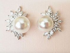 Look classy and sophisticated with these simulated pearls & AAA quality Cubic Zirconia earrings. Shop many more unique designs on JazzyAndGlitzy. Pearl Earrings, Cubic Zirconia Earrings, Bridal Earrings, Pearls, Bridal Gowns, Something To Do, Jewelry, Bridesmaid Dresses, Classy