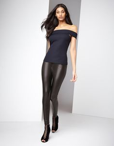 Boohoo Seamed Front Leather Look Legging