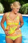 The Tutti Frutti Tankini Swimsuit by Always For Me Chic Prints is a striking addition to our 2013 Plus Size Swimwear Collection.  This vivid plus size tankini is an animal print hybrid with tonal brigh
