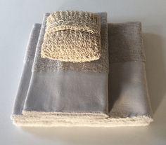 Set spugne bagno colore grigio perla (ospite+viso)