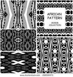Set of monochrome African Ethnic original seamless patterns. Vector backgrounds collection can be used for wallpaper, pattern fills, web page background, surface textures. seamless background - stock vector