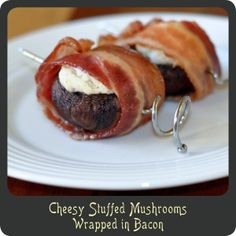 Cheesy Stuffed Mushrooms Wrapped in Bacon