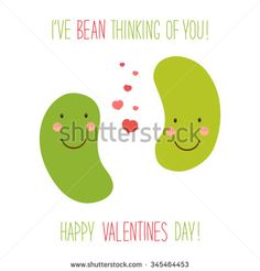 Cute unusual hand drawn Valentines Day card with funny cartoon characters of beans and hand written note
