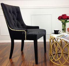 Krzesło tapicerowane pikowane złota kołatka do salonu CZARNE TIFFANY