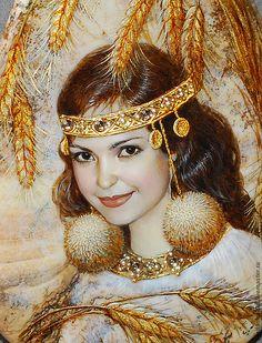 Купить Кострома (портрет по фото) - лаковая миниатюра, портрет по фото, портрет на заказ, роспись по камню