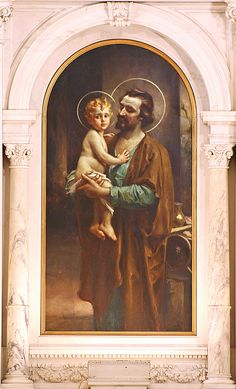 "St. Joseph holding the baby Jesus ""St. Joseph and the Light of the World"" C B Chambers"