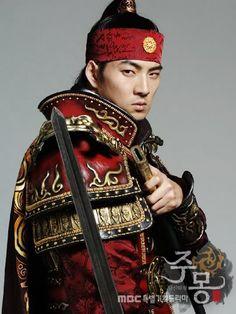 Men in Hanbok: Korean actor Song Il Gook wearing crimson armor over his hanbok, from the TV drama Jumong