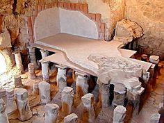 Part of the reconstructed bathhouse: the caldarium